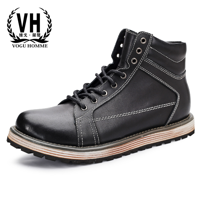 Genuine Leather Martin boots male high top casual shoes autumn winter British retro cowhide mens dress boots steel toe shoes