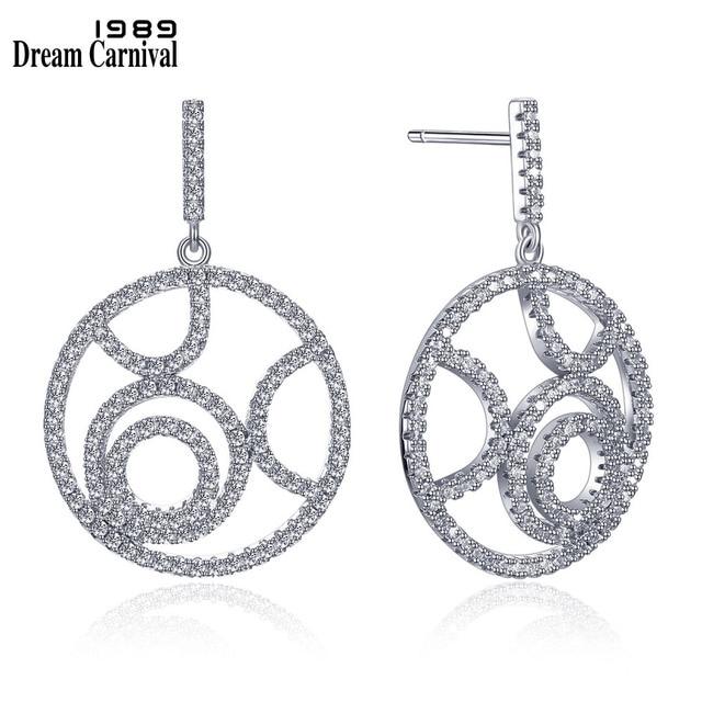 DreamCarnival 1989 Trendy Pattern Round Shape Brincos Silver Jewelry Daily Wear Fashion Accessories Women CZ Earrings SE12056R