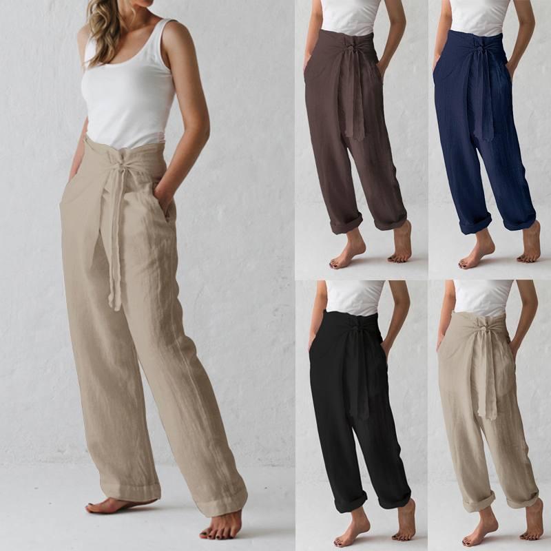 Celmia Women Vintage Cotton Wide Leg Pants 2020 Summer Ladies Bottoms Casual Loose Harem Pant Pockets Long Pantalon Plus Size