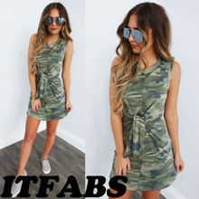 edc08e9cfe8a7 hirigin Summer Women Camouflage Sleeveless Mini Beach Dress Cotton Dresses  Female