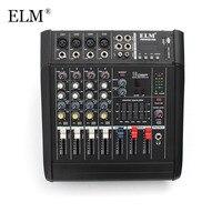 ELM цифровой аудиомикшер Профессиональный 4 канальный микрофон для караоке микшерная усилитель консоли с USB PoE коммутатор 48 V Phantom