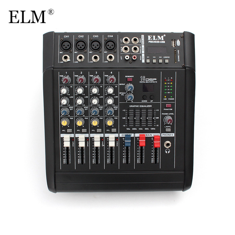 ELM Digital Audio Mixer Professional 4 Channel Karaoke Microphone Sound Mixing Amplifier Console With USB Switch 48V Phantom professional 4 channel live mixing studio audio sound console network anchor portable mixing device vocal effect processor