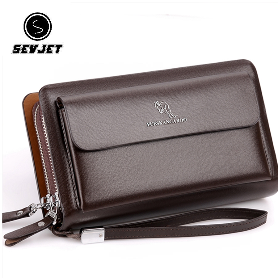 Kangraoo Brand Fashion Men Phone Clutch Bags Male PU Leather Hand Bag Business Men Long Wallet Famous Leather Men Clutch Wallets