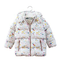 YPB638100 Retail 2016 New Winter Baby Girl Jacket Hooded  Print Coat Outerwear Worm Kids Clothes Lolita