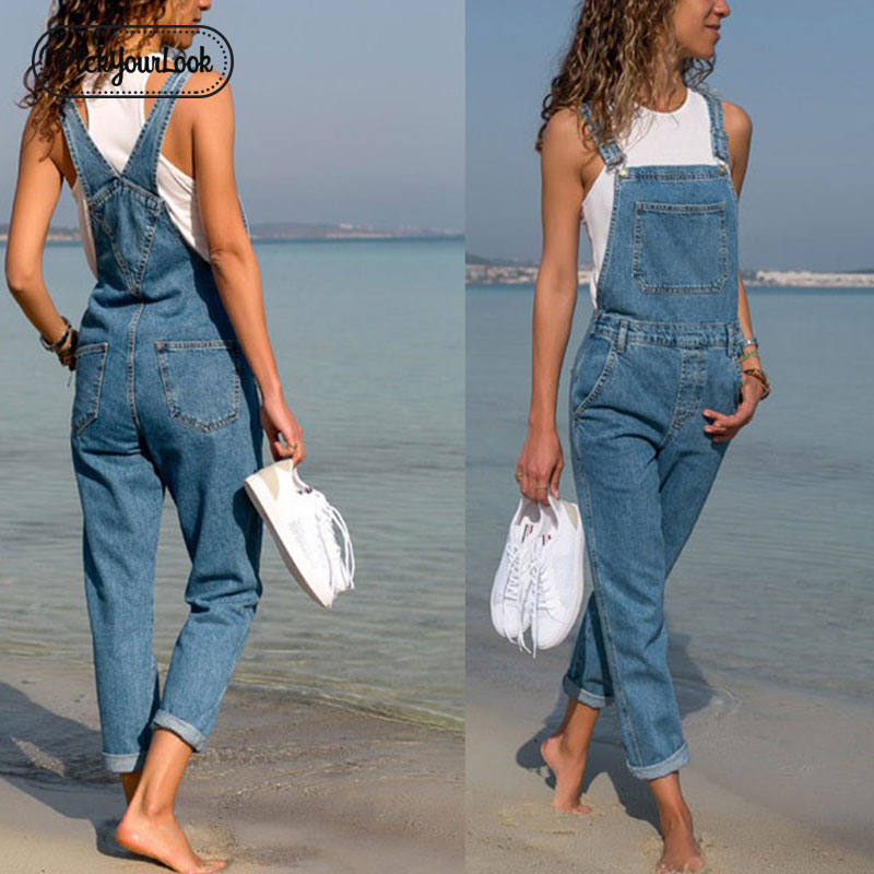 Pickyourlook Denim Blue Women Overalls   Jumpsuit   Rompers Belted Hole Hollow Out Pocket Lady Overall Fashion Female Pants   Jumpsuit