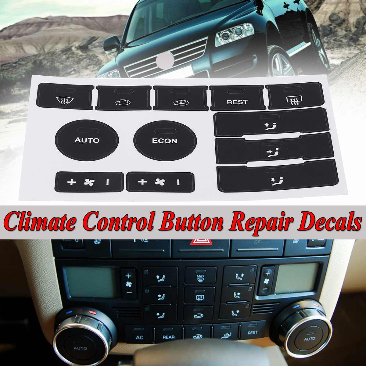 Calcomanías negras mate de reparación de botón de Control de aire acondicionado de coche para VW para Volkswagen Touareg 2004-2009 fijar el botón feo usado