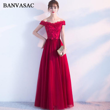BANVASAC Boat Neck Lace Appliques A Line Long Evening Dresses Party Off The Shoulder Bow Sash Backless Prom Gowns
