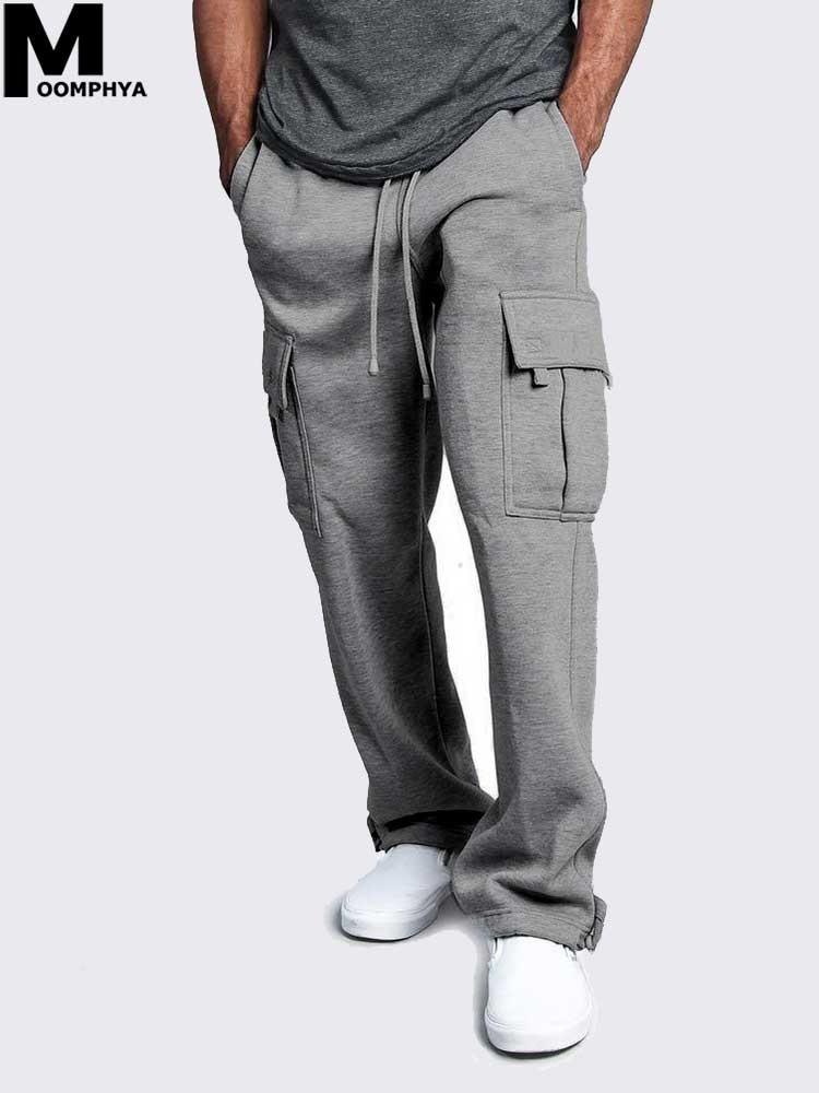 Moomphya Loose Straight Pocket Cargo Pants Men Hip Hop Dance Sweatpants Streetwear Joggers Male Long Pants Trousers For Men