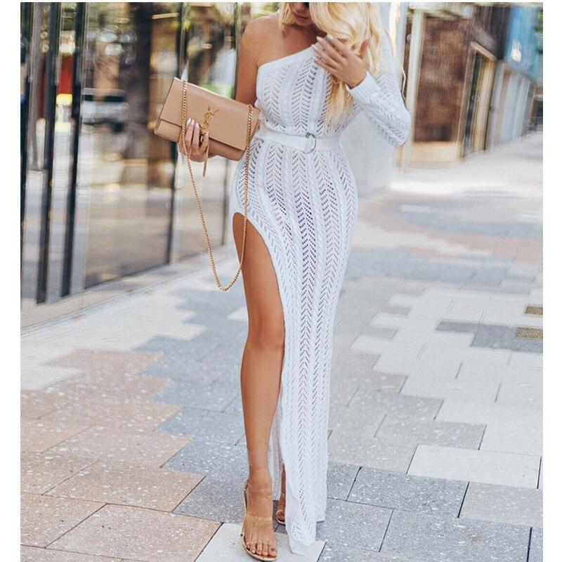Модное женское облегающее вечернее платье с одним плечом для клуба, длинное платье макси, Пляжное Платье