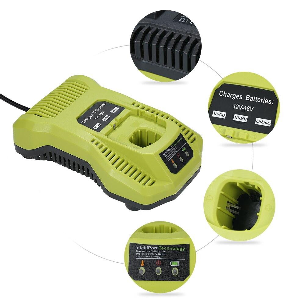 P117 chargeur de remplacement pour batterie Li-ion NI-MH 12-18 V NI-CD pour outils électriques Ryobi prise EU