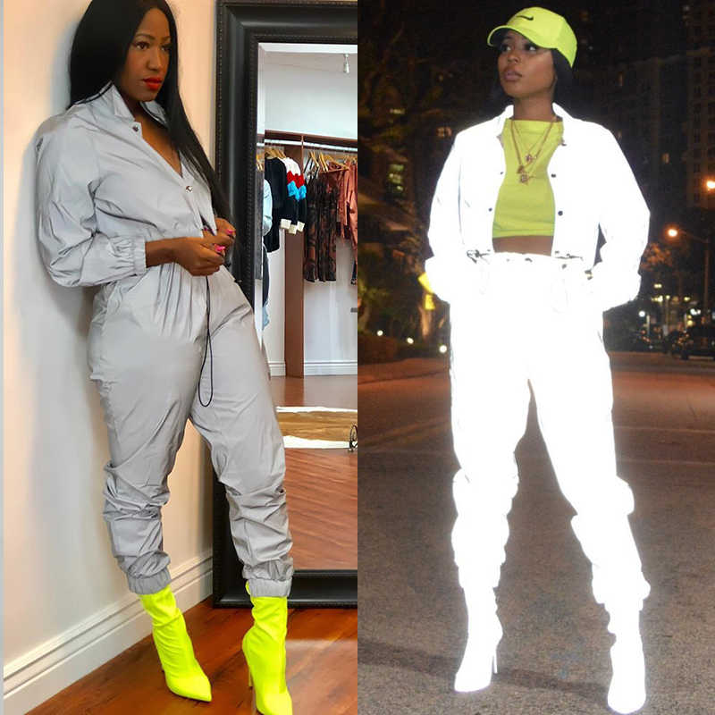addd7db9ca007 ... Trendy Reflective TWO PIECE SET Glitter Tracksuit Women Jacket Crop Top  Sexy Club Outfit Track Suit ...