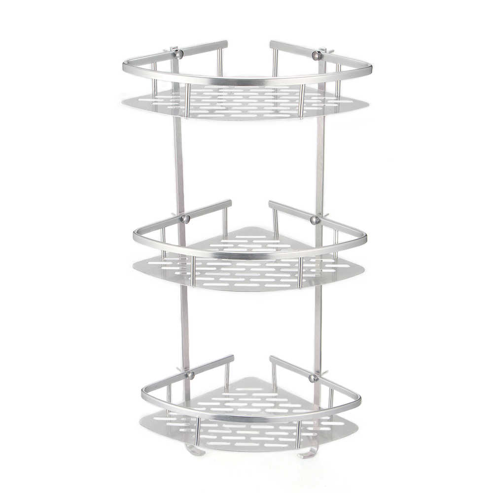 Bathroom Shelf 2/3 Layer Aluminum Triangular Rack Bathroom Accessories Storage Organizer For Shampoo Soap Cosmetic Basket Holder