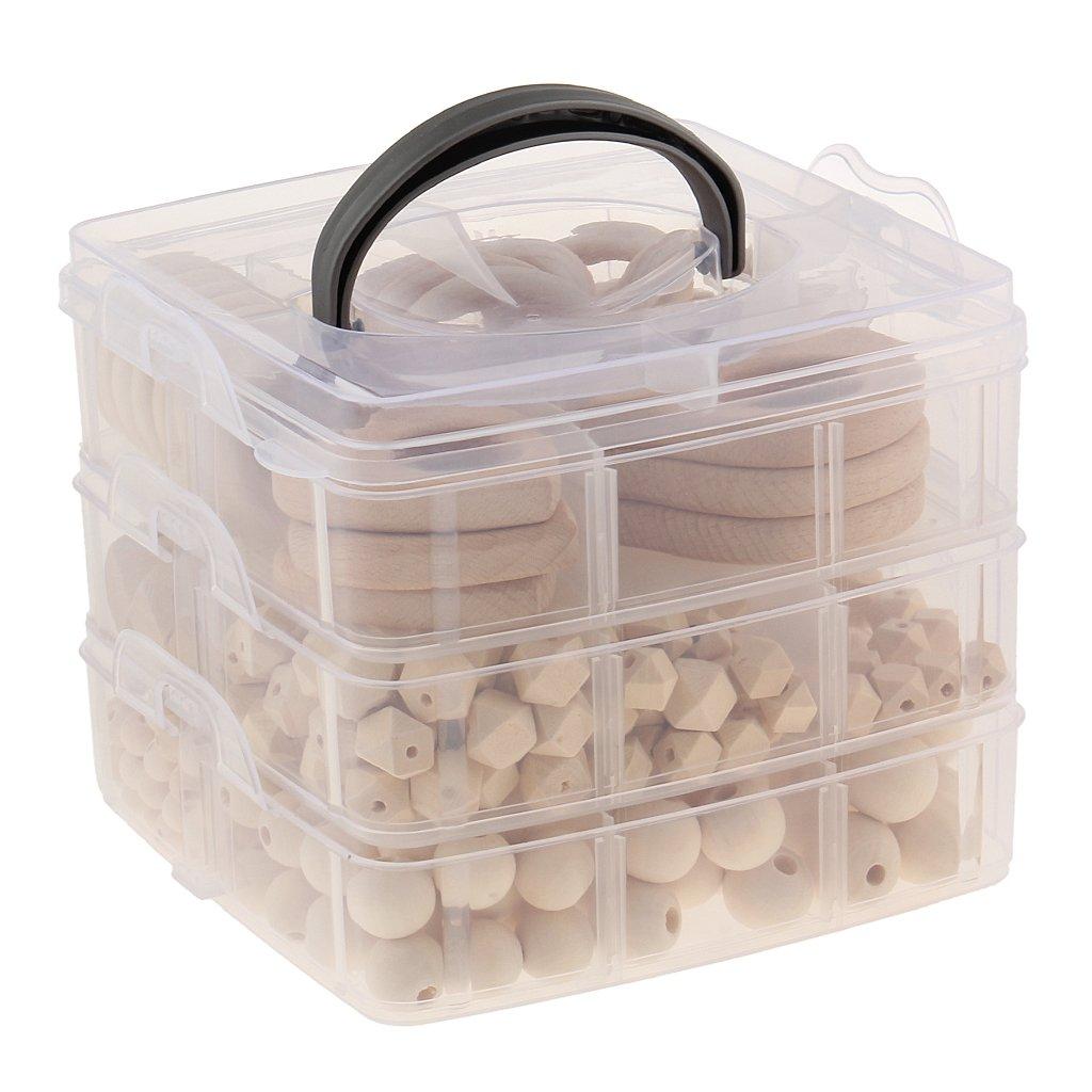 Perles de dentition en bois pour bébé anneaux de dentition avec boîte de rangement Bracelet Bracelet bricolage artisanat bébé produits jouets cadeau de douche