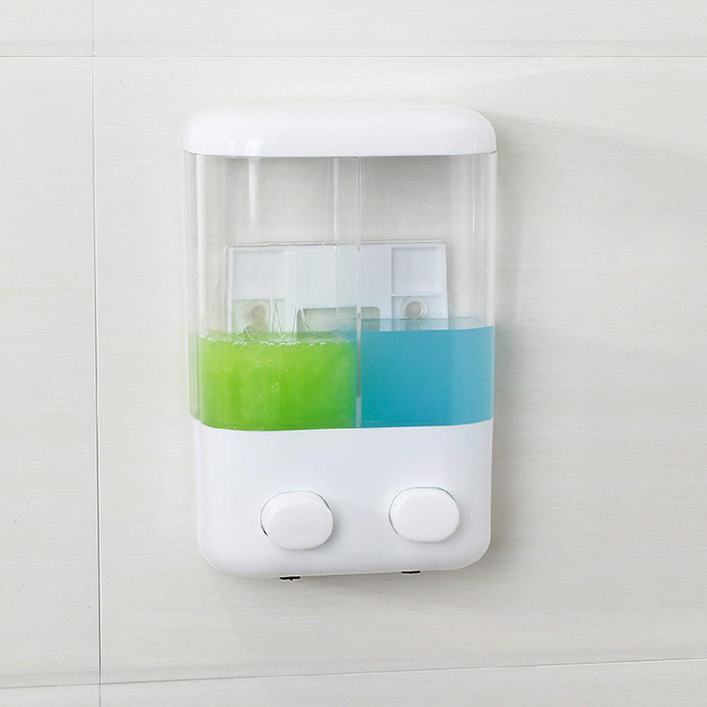 Double Head Soap Sanitizer Shampoo Dispenser With Sucker For Bathroom Washroom Shower