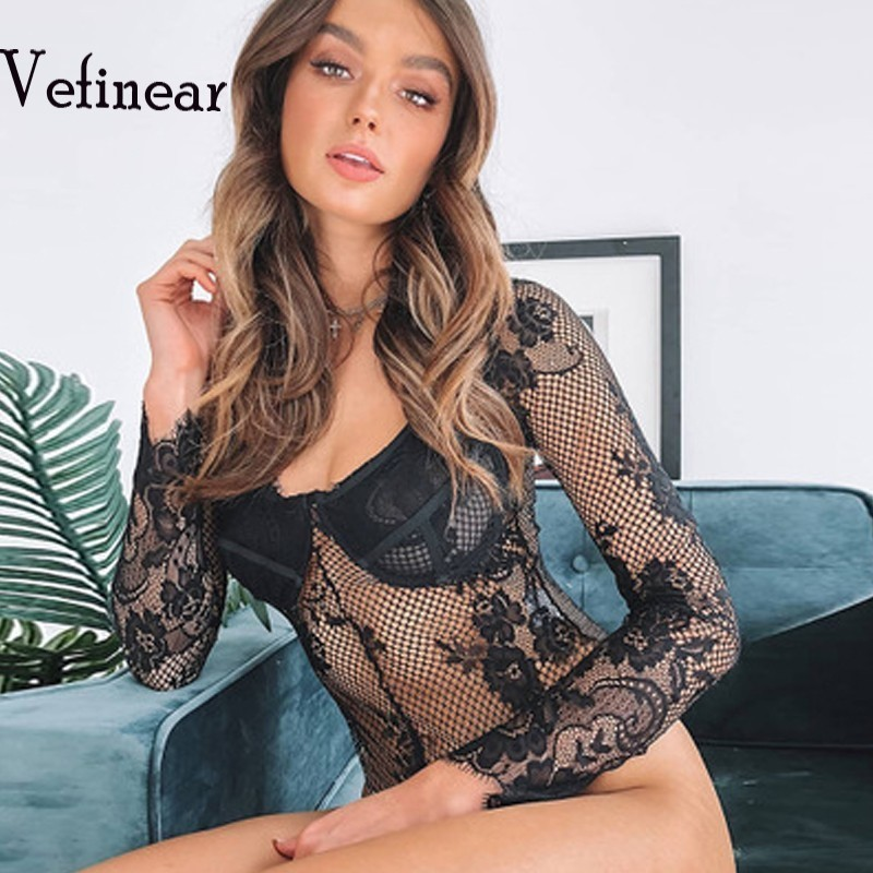 Women's Clothing Responsible Vefinear Summer Lace Bodysuit Women Floral Embroidery Deep V Neck Sexy Bodysuit Long Sleeve Jumpsuit Overalls To Have Both The Quality Of Tenacity And Hardness