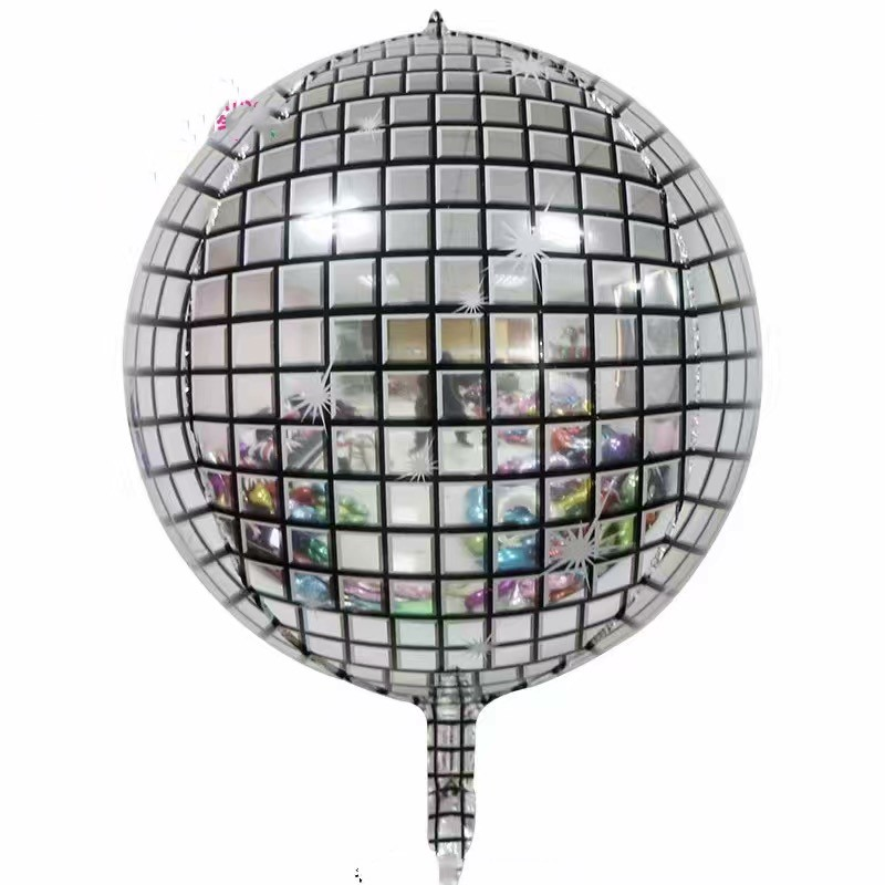wedding : 20pcs 4D disco diamond round Cube Shaped Helium Ball Solid Aluminum Foil Balloons Party Wedding Birthday Party New Year Decor