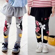 Топы на весну-осень, детская одежда для девочек, эластичная плиссированная юбка, штаны, хлопковые леггинсы с принтом Микки и Минни