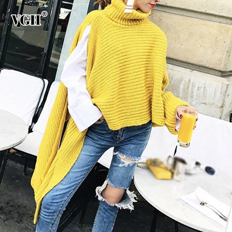 VGH femmes chandail tricoté col roulé à manches longues asymétrique fente ourlet mode élégant chandail pour les femmes hiver nouveau