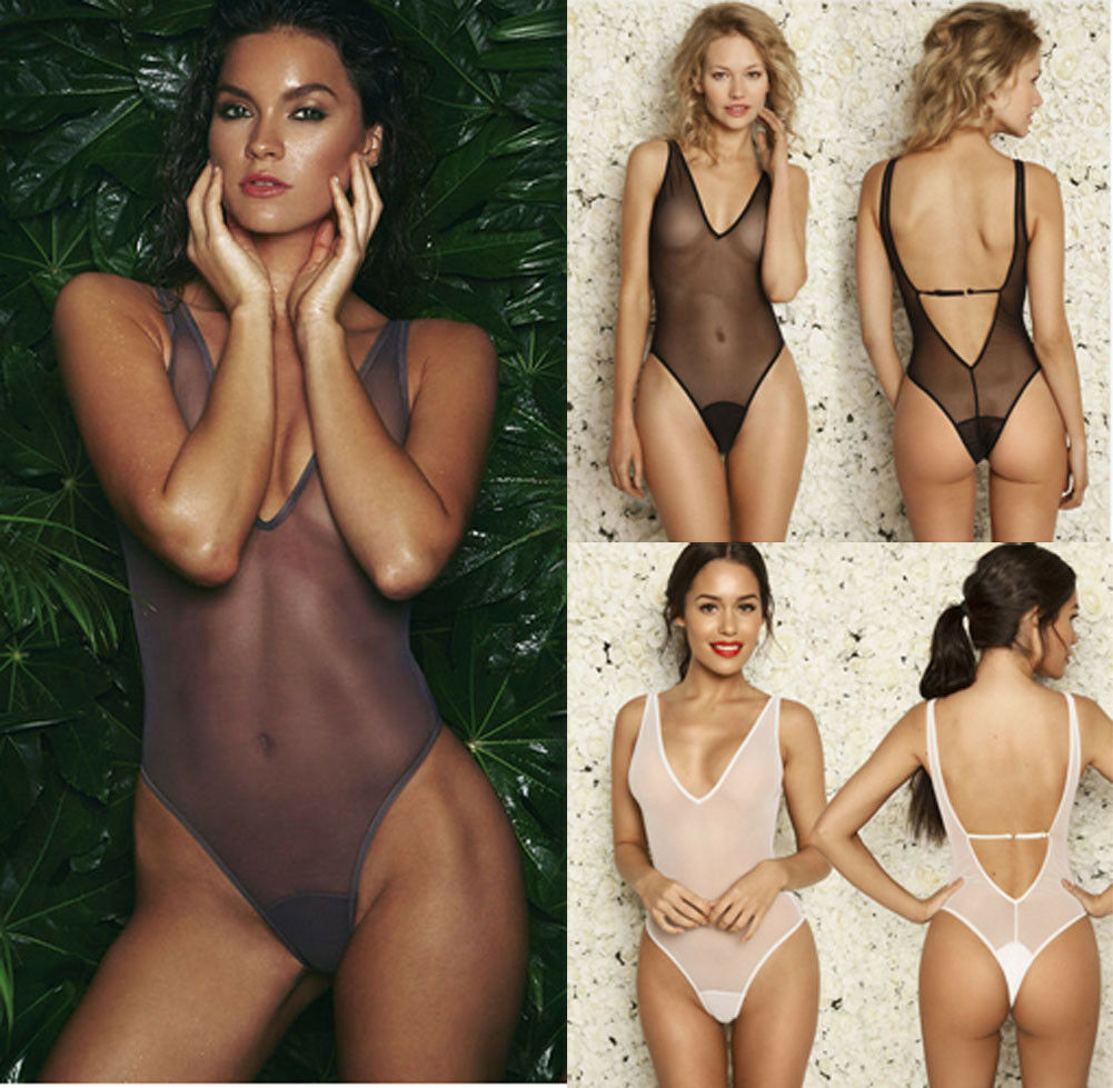 <font><b>2019</b></font> <font><b>Sexy</b></font> See Through High Cut Bodysuit Thong <font><b>Swimsuit</b></font> Transparent Sheer Milk Spandex Erotic Lingerie Underwear Body Suits image