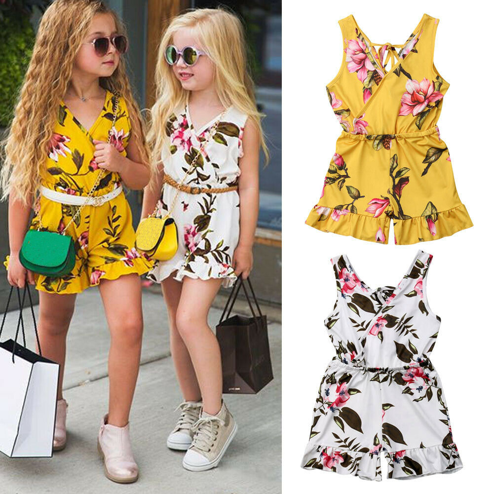 1-6y Zomer Peuter Kids Baby Meisje Mouwloze Bloemen Romper Jumpsuit Outfits Een Stukken Sunsuit Kleding