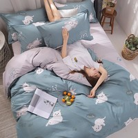 Fortune Cat Bedding Set Quilt Cover Queen Full King Size Children Cartoon Duvet Cover Set Red And White Home Bedclothes 3/4pcs