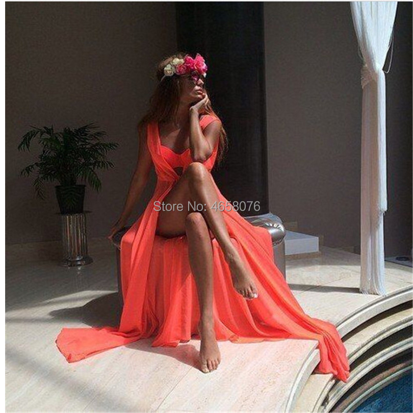 Sexy Long Bikini Cover Ups Women Dress Solid Chiffon Beach Tunic Swimsuits Cover Ups Summer Dress Vintage Beach Sarongs On Sale