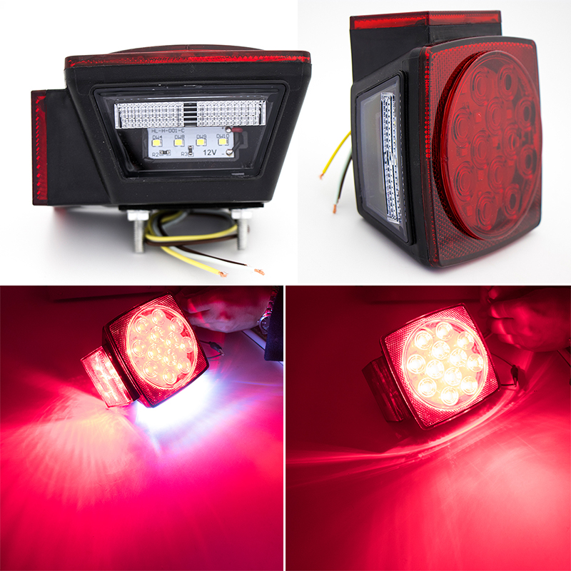 1Pair HL H 001 Car Square LED Tail Lights Lamp For Trailer Truck Boat Waterproof