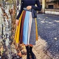TWOTWINSTYLE Multi Patchwork Suede Skirt For Women High Waist Hit Colors Autumn Winter 2018 New Korean Fashion Skirts Female