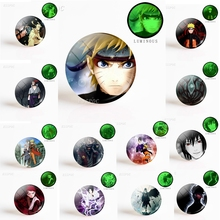 5PCS Fashion Anime Naruto Shippuden 25mm Luminous Glass Dome Cabochon Uzumaki Uchiha Sasuke Jewelry Gift