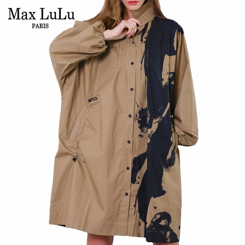 Max LuLu 2019 Fashion Chinese Style Ladies Printed Windbreaker Womens Spring Trench Cotton Vintage Female Long