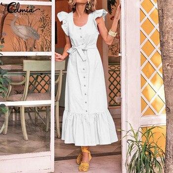 dadd0d7999cf Celmia 2019 vacaciones de verano vestido largo Mujer de Maxi vestido Casual  suelto Bohemain fiesta tobillo longitud Vestidos Mujer s-5XL