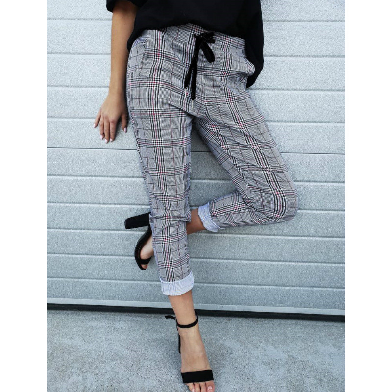Autumn&spring Korea Retro Skinny Casual Pants Women Harajuku Plaid Pants Wide Leg Ankle Length Track Trousers