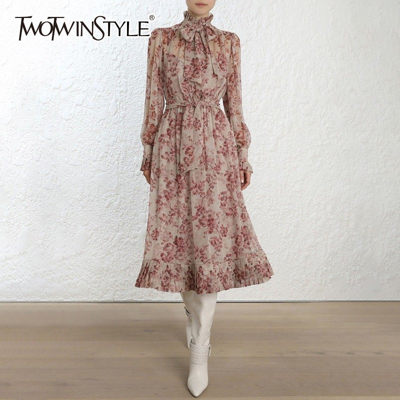 TWOTWINSTYLE Autumn Print Dress Female Lace up Bowknot Lantern Long Sleeve Lace Up Pleated Dresses 2019