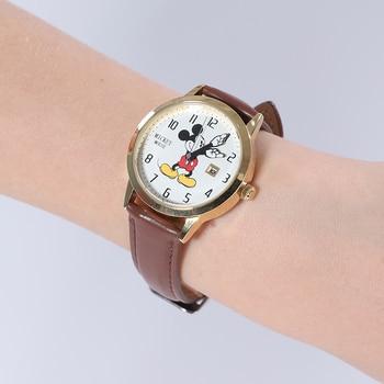 Disney Brand Mickey Mouse Women Watches Ladies Men leather Quartz Clocks Children Watches for girls boys Original Gift Box 6