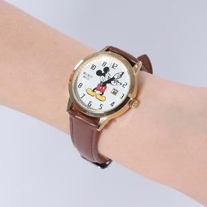 Image 5 - דיסני מותג מיקי מאוס נשים שעונים גבירותיי גברים עור קוורץ שעונים לילדים שעונים עבור בנות בני מקורי אריזת מתנה
