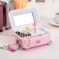 2019 Creative Luggage Case Trunk Ballerina Music Box Dancing Dolls Home Decor Personalized Ornaments Decoration Gifts
