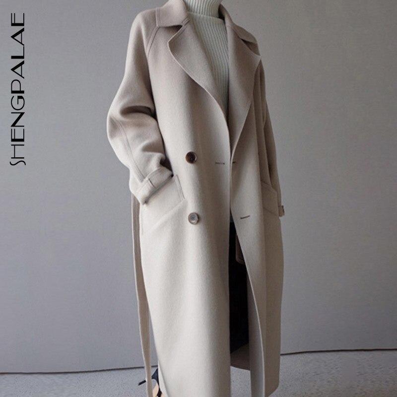 0626d3c61b532 Laine Vêtements Femmes Longue Mélange Poche 2019 D'hiver Shown Trench  Oversize Ceinture as Beige Manteau Revers ...