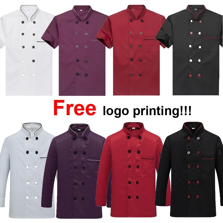 Free Logo Printing on Chest Double Breast Pocket Design Man Chef Uniform Jacket Coat Restaurant Kitchen Wear Waiter Shirt