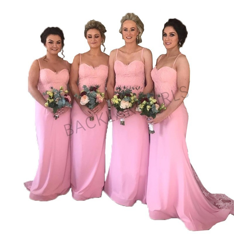 Simple Elegant Long   Bridesmaid     Dresses   2019 Spaghetti Strap Sweetheart Chiffon   Dress   For Brides Maid Pink
