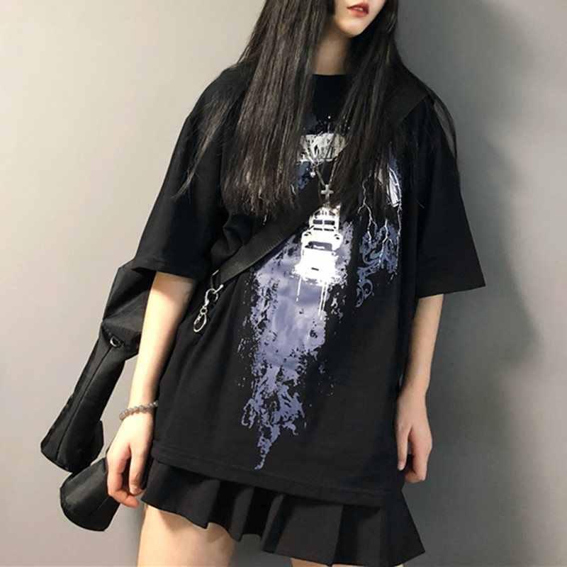 Летняя футболка новинки для женщин поступления 2019 Готический принт черный топ повседневное уличная Корейская Панк Мода Harajuku футболк