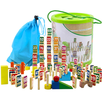 Children 112Pcs/set Number Cartoon/Cartoon Animal Organ Wooden Domino Blocks Action Games Early Learning Educational Toys