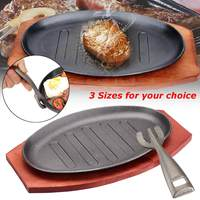 3 Sizes Cast Iron Steak Fajita Sizzling Platter Plate With Cooking Wooden Holder Home Kitchen Cooking Plate Appliance Parts New