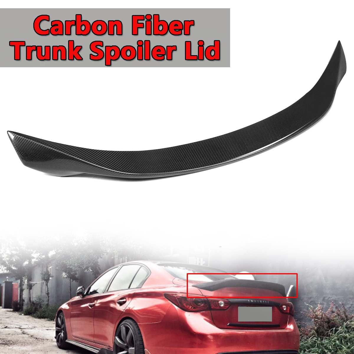 Nouveau véritable couvercle d'aile de Spoiler de coffre de voiture de Fiber de carbone pour Infiniti Q50 2014-2018 Highkick aluminium aileron d'aile arrière coffre arrière