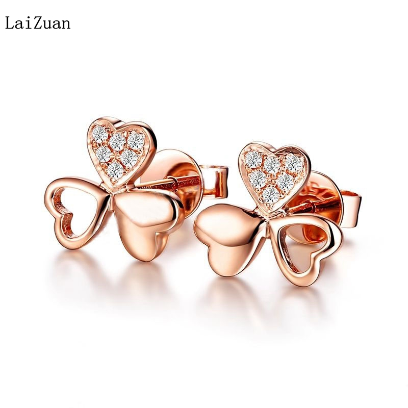 LaiZuan Delacate trèfle diamants mariage anniversaire boucles d'oreilles solide 14 K or Rose romantique à la mode élégant bijoux boucles d'oreilles