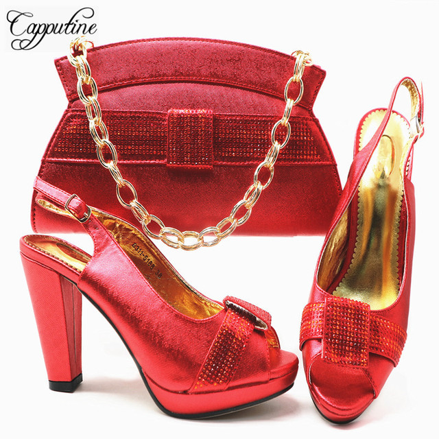 66b62907458 Capputine Italian Shoes With Matching Bags Set Hot African Women s Party  Shoes and Bag Sets Red Color Women Sandals And Purse