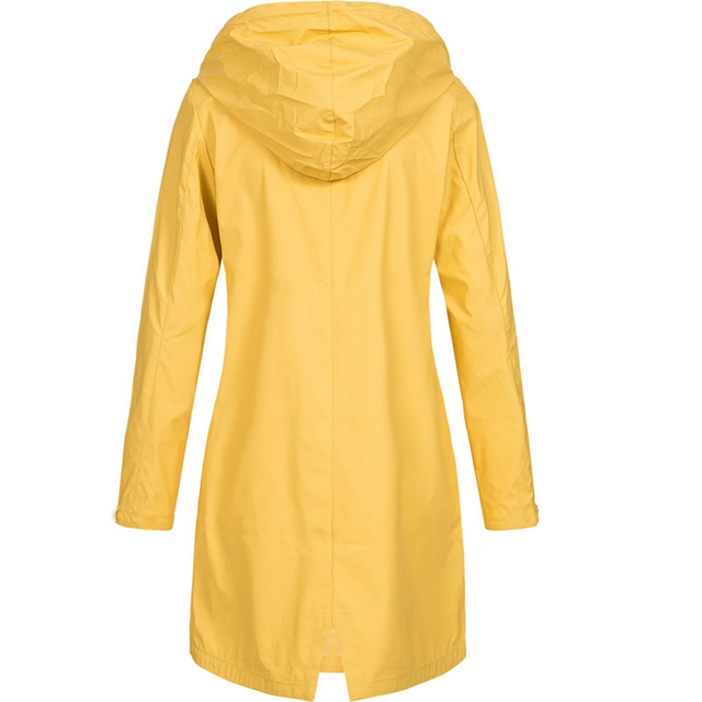 Coat Women Fashion Long Sleeve Hooded Raincoat Windbreaker Hiking Ladies Casual Solid Color Outdoor Waterproof Trench 3