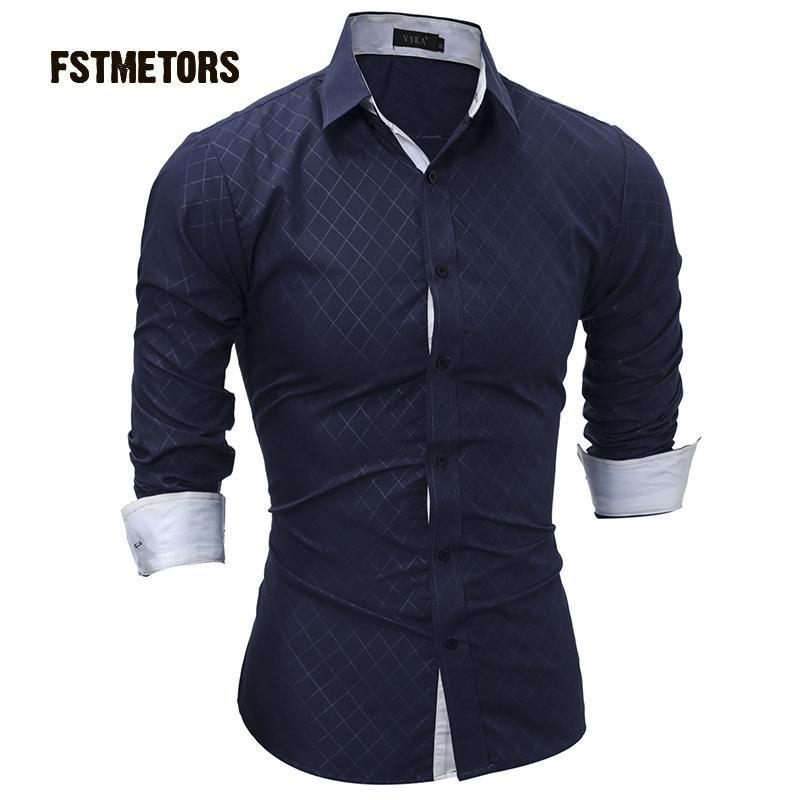 2018 Fstmetors Herbst Mode Freizeit Kultivieren Herren Hemd Tasche Farbe Passenden Mann Langarm-shirt