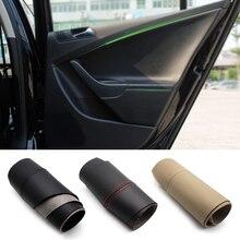 Manija de puerta Interior de coche, apoyabrazos, cubierta de cuero de microfibra, para VW Passat B6 2006 2007 2008 2009 2010