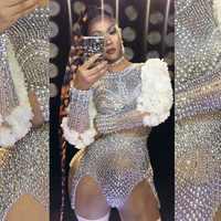 Traje de lujo con perlas y diamantes de imitación con mangas floreadas para mujer, Sexy cantante, actuación, etapa, baile, traje de cumpleaños, fiesta, Club