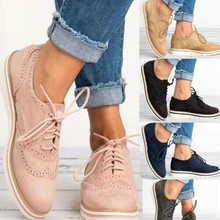 Women Flats Lace-up Casual Shoes Brogue Shoes Woman Platform Oxfords British Creepers Cut-outs Flat Ladies Shoes Big Size 35-43